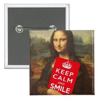 Mona Lisa guarda calma y sonríe Chapa Cuadrada 5 Cm