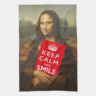Mona Lisa guarda calma y sonríe Toallas De Mano