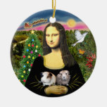 Mona Lisa & her Two Guinea Pigs Ceramic Ornament