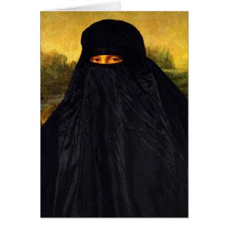 Mona Lisa Hidden Behind Burqa Card