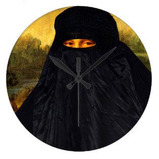 Mona Lisa Hidden Behind Burqa Large Clock