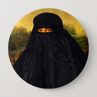 Mona Lisa Hidden Behind Burqa Pinback Button