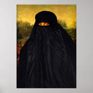 Mona Lisa Hidden Behind Burqa Poster