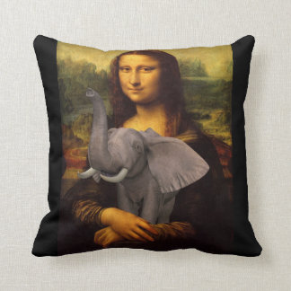 Mona Lisa Hugs Elephant Throw Pillows