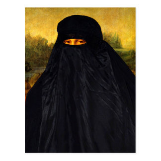 Mona Lisa In Burqa Postcard