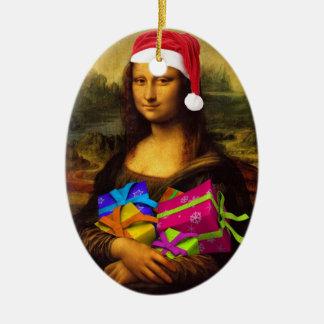 Mona Lisa In Christmas Mood Ceramic Ornament