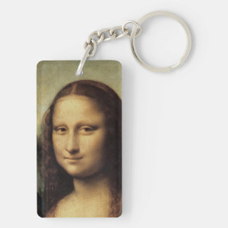 Mona Lisa in detail by Leonardo da Vinci Double-Sided Rectangular Acrylic Keychain