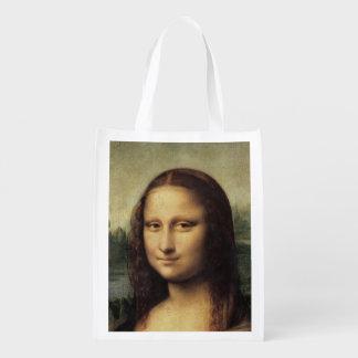 Mona Lisa in detail by Leonardo da Vinci Grocery Bag