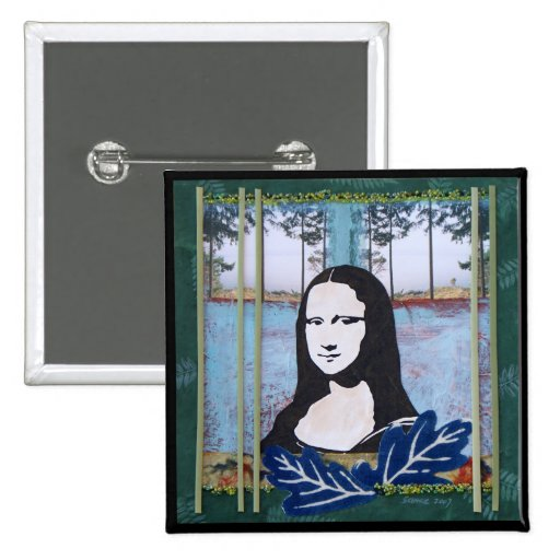 Mona Lisa in the Country Pinback Buttons