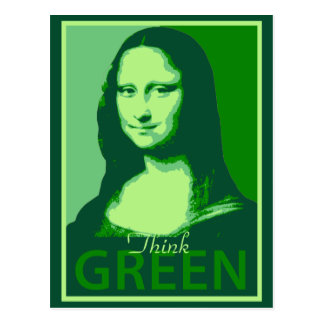 Mona Lisa is Green Postcard
