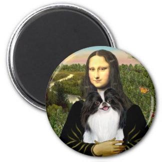 Mona Lisa - japonés Chin 3 Imán Redondo 5 Cm