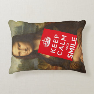 Mona Lisa Keep Calm And Smile Accent Pillow