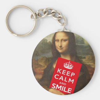 Mona Lisa Keep Calm And Smile Basic Round Button Keychain