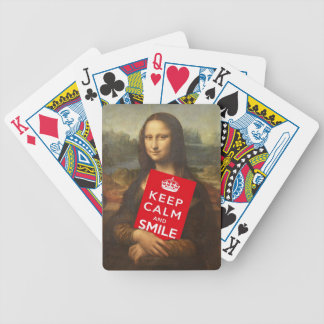 Mona Lisa Keep Calm And Smile Bicycle Playing Cards