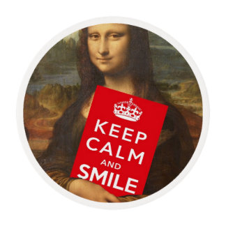 Mona Lisa Keep Calm And Smile Edible Frosting Rounds