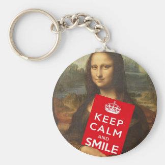 Mona Lisa Keep Calm And Smile Key Chains