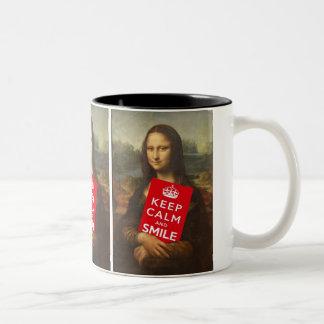 Mona Lisa Keep Calm And Smile Two-Tone Coffee Mug