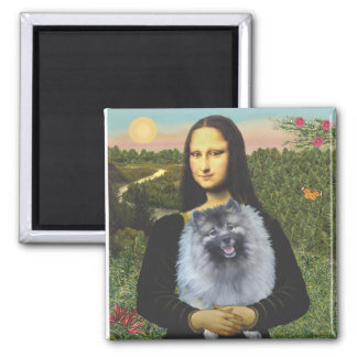 Mona Lisa - Keeshond (f) Imán Cuadrado