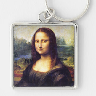 Mona Lisa, Leonardo da Vinci Silver-Colored Square Keychain