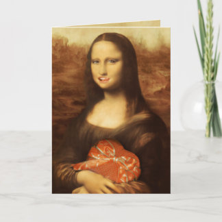 Mona Lisa Likes Valentine's Candy Holiday Card