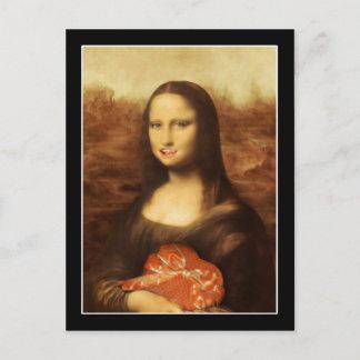 Mona Lisa Likes Valentine's Candy Holiday Postcard