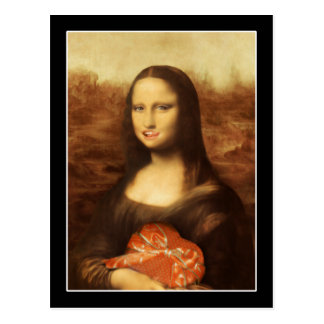 Mona Lisa Likes Valentine's Candy Postcard