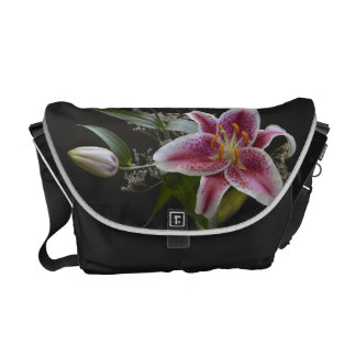 Mona Lisa Lily Flower Rickshaw Messenger Bag