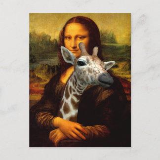 Mona Lisa Loves Giraffes A Lot Postcard
