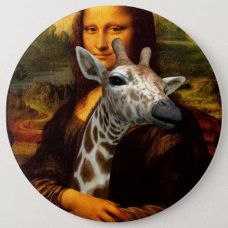Mona Lisa Loves Giraffes Button