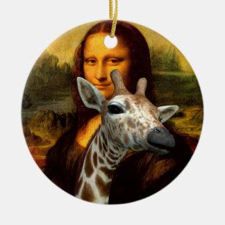 Mona Lisa Loves Giraffes Ceramic Ornament