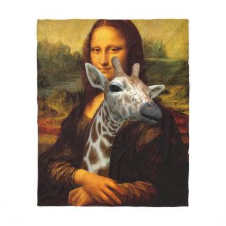 Mona Lisa Loves Giraffes Fleece Blanket