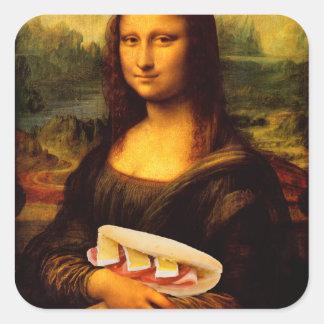 Mona Lisa Loves Paninis Square Sticker