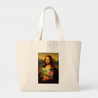 Mona Lisa Loves Vegetables Large Tote Bag