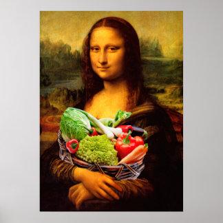 Mona Lisa Loves Vegetables Poster