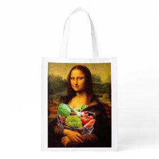 Mona Lisa Loves Vegetables Reusable Grocery Bag