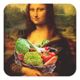Mona Lisa Loves Vegetables Square Sticker