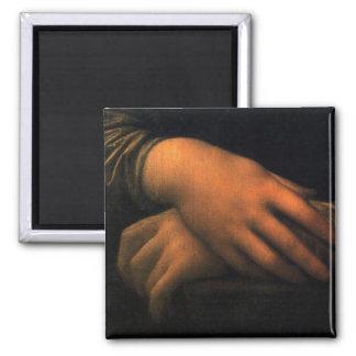 Mona Lisa - manos Imán Cuadrado