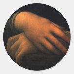 Mona Lisa - manos Pegatinas Redondas