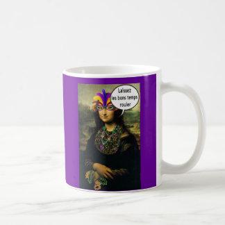 Mona Lisa Mardi Gras Classic White Coffee Mug