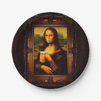 Mona lisa - mona lisa beer  - funny mona lisa-beer paper plate