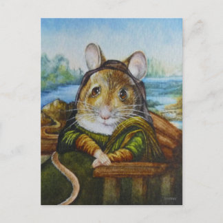 Mona Lisa Mouse Parody Watercolor Art Postcard