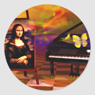 Mona Lisa Music Art. Mona Lisa Products by Lenny Classic Round Sticker