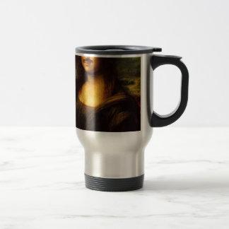 mona lisa mustache travel mug