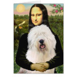 Mona Lisa - Old English 3 Greeting Card