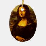 Mona Lisa Double-Sided Oval Ceramic Christmas Ornament