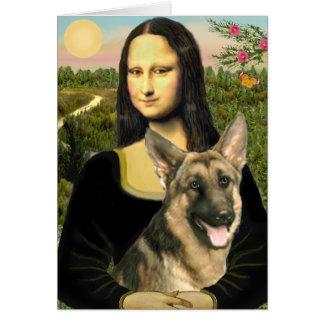 Mona Lisa - pastor alemán 2 Tarjeta De Felicitación