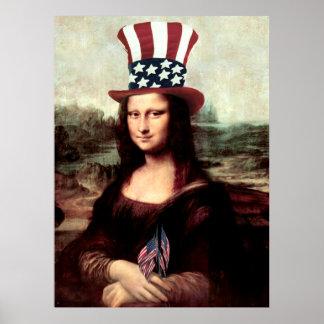 Mona Lisa patriótica - aliste para el Día de la Póster