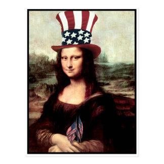 Mona Lisa patriótica - aliste para el Día de la Postales