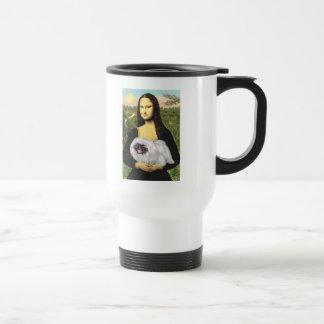Mona Lisa - Pekingese blanco, máscara negra Taza De Café