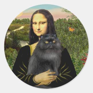 Mona Lisa - Persian cat (black) Classic Round Sticker